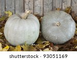 Two  Pumpkins On A Leaves