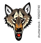 cartoon angry wolf head... | Shutterstock .eps vector #93053740