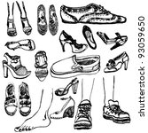 hand drawn shoes collection | Shutterstock .eps vector #93059650