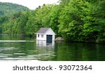 Laurentians Mountains Lake in Quebec - stock photo