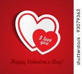 double red heart paper sticker... | Shutterstock .eps vector #93079363