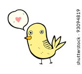 funny bird with love heart | Shutterstock .eps vector #93094819