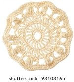 handmade crochet round motif isolated on white - stock photo