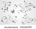 Stock vector set of floral black design with swirl elements on gray background 93104599