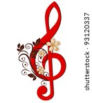 treble clef with a flower... | Shutterstock .eps vector #93120337