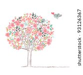 blooming tree and birds in love | Shutterstock .eps vector #93126367