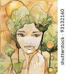 portrait of a beautiful woman.... | Shutterstock . vector #93132160