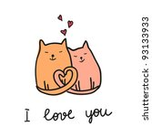 valentine day cats | Shutterstock .eps vector #93133933