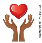 red heart and hands | Shutterstock .eps vector #93151363