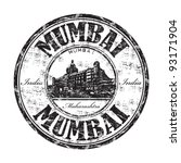 Black grunge rubber stamp with the name of Mumbai the capital of the Indian state of Maharashtra and one of the most populous cities in the world