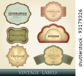 vintage labels set   vector... | Shutterstock .eps vector #93179326