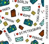 i love travel pattern | Shutterstock .eps vector #93192133