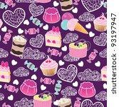 sweet cute valentine desserts... | Shutterstock .eps vector #93197947