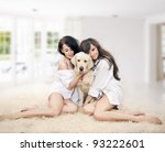 Cute women with dog - stock photo