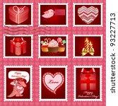 valentine's day postage set. | Shutterstock .eps vector #93227713