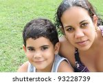 young latin mother and her... | Shutterstock . vector #93228739