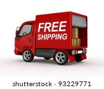 3d red van with free shipping... | Shutterstock . vector #93229771