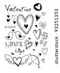 hand drawn doodle valentine's... | Shutterstock . vector #93251353