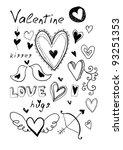 hand drawn doodle valentine's... | Shutterstock . vector #93251353
