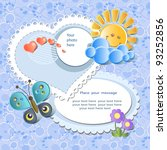 vector baby card with scrapbook ... | Shutterstock .eps vector #93252856