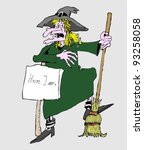 witch and her broom | Shutterstock .eps vector #93258058