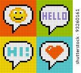 8 bit pixel social networking... | Shutterstock .eps vector #93260161
