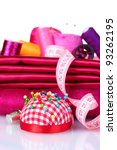 red and pink thread  measuring... | Shutterstock . vector #93262195