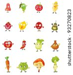 mixed fruit faces illustrations | Shutterstock .eps vector #93270823