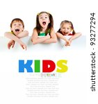 cute little kids ower a white... | Shutterstock . vector #93277294