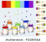 pots of colour paint and a... | Shutterstock .eps vector #93284566