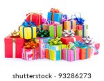 Pile Of Colorful Gifts Box  On...