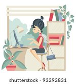 young business woman using...   Shutterstock .eps vector #93292831