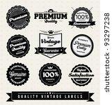 vintage premium quality labels... | Shutterstock .eps vector #93297238