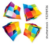 set of abstract colorful cubes  ... | Shutterstock .eps vector #93298936