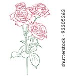 red rose painted silhouette and ... | Shutterstock .eps vector #93305263