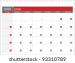 june 2012 planning calendar | Shutterstock .eps vector #93310789