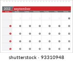 september 2012 planning calendar | Shutterstock .eps vector #93310948