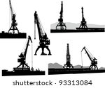 set of silhouettes of the port... | Shutterstock .eps vector #93313084