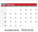 february 2012 planning calendar | Shutterstock .eps vector #93313132