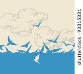 birds flying over sky vector...