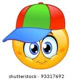 Kid Emoticon Wearing A Basebal...