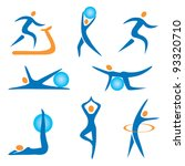Set Of Sport  Fitness  Exercis...