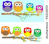 family of owls sat on a tree... | Shutterstock .eps vector #93323053