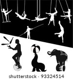 vector silhouettes.circus show | Shutterstock .eps vector #93324514