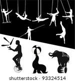 vector silhouettes.circus show   Shutterstock .eps vector #93324514