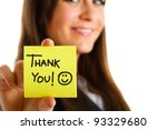business woman showing a post... | Shutterstock . vector #93329680
