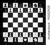 chess board with figures for... | Shutterstock .eps vector #93332920