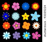 set of flower blossoms and...   Shutterstock .eps vector #93335224