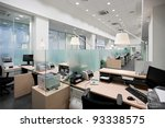 empty bank office with desks in ... | Shutterstock . vector #93338575