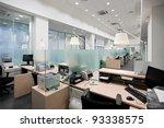 empty bank office with desks in ... | Shutterstock . vector #93338575